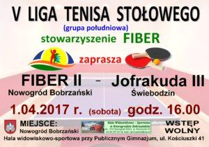 Mecz V ligi tenisa stołowego : FIBER II - Jofrakuda III Świebodzin @ Hala widowiskowo-sportowa przy Publicznym Gimnazjum